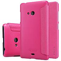 Кожаный чехол книжка Nillkin Sparkle для Microsoft Lumia 540 розовый