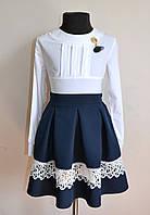 Школьная блузка детская для девочки от 6 -13 лет белого цвета, фото 1