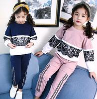 Нарядний спортивний костюм / осенний комплект детской одежды, хлопковый свитер + штаны, повседневный детский