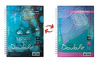 Записная книга DOUBLE А5, на пружине, 96л., клетка, твердый ламинированный переплет, бирюзовый BM.24571101-06 Buromax (отеч.пр-во)