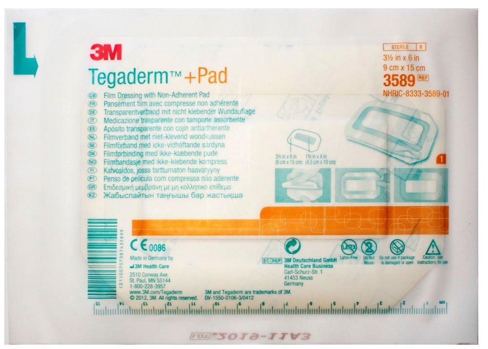 3М Tegaderm + Pad - Повязка прозрачная для фиксации катетров и закрытия ран 9х15см