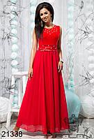 Платье вечернее красное шифоновое в пол с открытой спиной