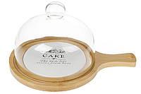 """Доска для сыра + стеклянная крышка на бамбуковой подставке с керамической вставкой """"Sweet home"""""""