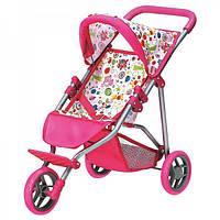 Складывающаяся трехколесная коляска для кукол и пупсов (с багажником, козырьком и ремнями) Bino