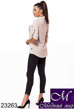 Женская бежевая рубашка (р. S, M, L, XL) арт. 23263, фото 2