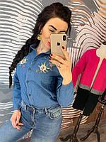 Джинсовая рубашка женская, стильная, 211-63