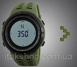 Спортивные тактические часы Skmei 1254 с компасом хаки, фото 2