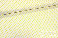Ткань сатин Горох желтый 8 мм