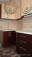 Ванильная кухня с узором МДФ крашеный