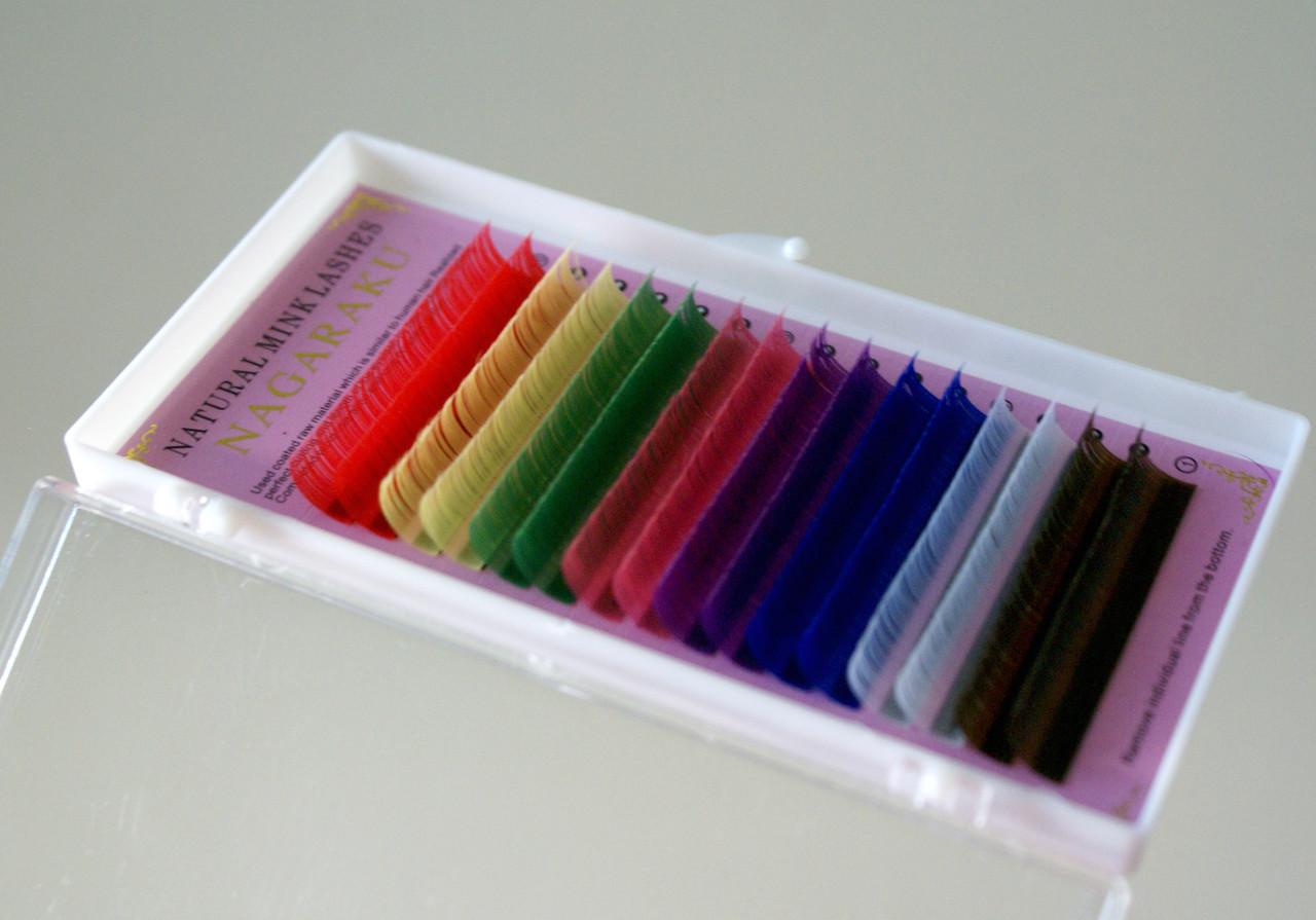 Ресницы Nagaraku толщина 0,07 изгиб D длина 11 Цветные радуга