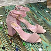 Босоножки замшевые женские на высоком каблуке, цвет пудра. 40 размер