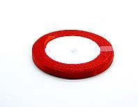 Лента атласная, ярко-красная, 6 мм. (рулон 23 м)