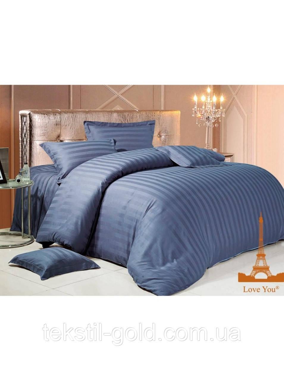Двуспальный Комплект постельного белья ТМ KRIS-POL (Украина) Страйп-сатин темн. синий