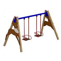 Качели детские двойные на деревянных стойках
