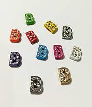 Буквы для наборных браслетов цветные, именной браслет, наборной силиконовый браслет B