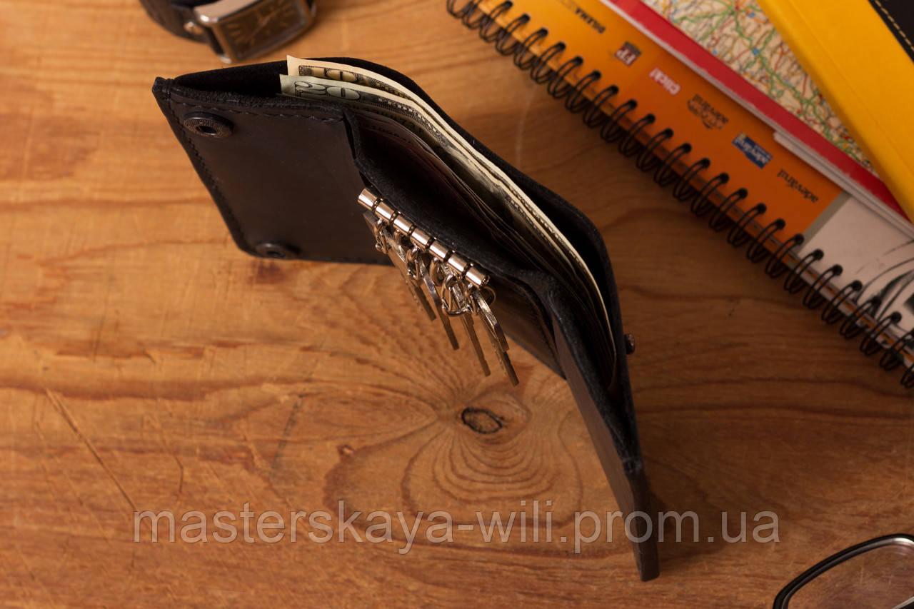 Кожаный кошелек-ключница ручной работы