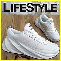 Стильные кожаные кроссовки Adidas белые (41-46 размер)