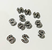 Буквы для наборных браслетов цветные, именной браслет, наборной силиконовый браслет S