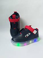 Кроссовки на мальчика Fila с подсветкой темно-синего цвета, фото 1