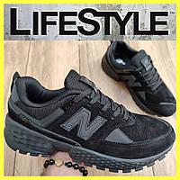 Стильные кожаные кроссовки New Balance черные (41-46 размер)