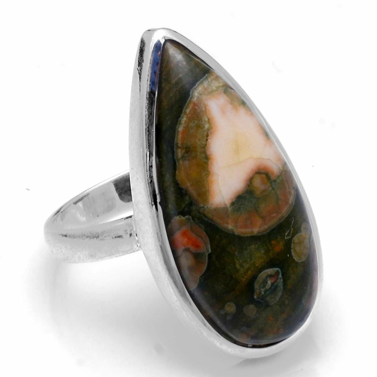 Срібне кільце з риолитом (ліпарі), 17*13 мм, 1924КЦР
