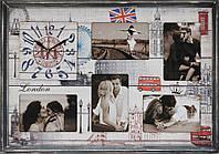"""Фоторамка коллаж с часами """"London"""" 38x53 см"""