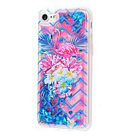 Чехол-накладка (Жидкий Блеск) Flamingo and Flowers для IPhone 7 / 8 Blue / Pink