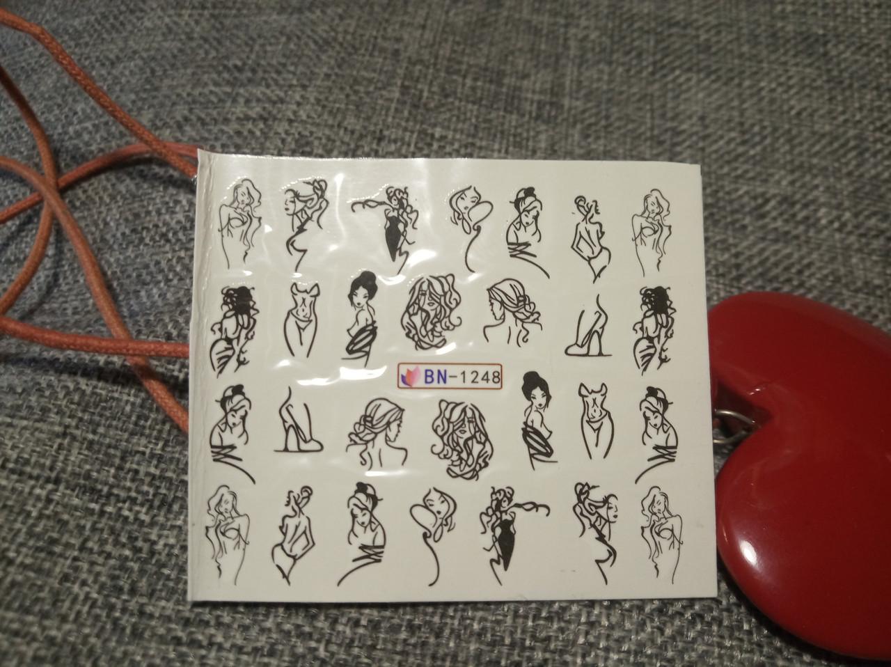 Слайдер-дизайн для ногтей (водные наклейки на ногти) BN-1248