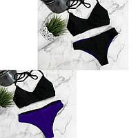 Купальник раздельный 2в1 черный верх + низ черный/фиолетовый 007 МЛ