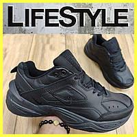 Стильные кожаные кроссовки Nike полностью черные (41-46 размер)
