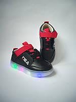 Кроссовки на мальчика Fila с подсветкой 27 размер черного цвета, фото 1