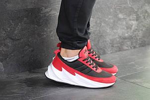 Мужские модные кроссовки Adidas Sharks,черные с красным, фото 2