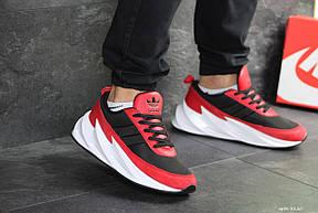 Мужские модные кроссовки Adidas Sharks,черные с красным, фото 3