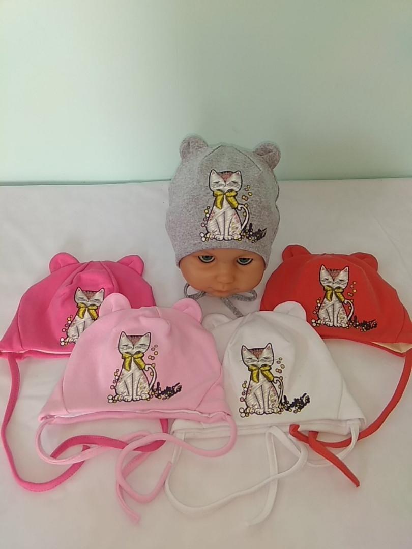 Шапочка с подкладкой для новорожденных размер 44 белой и св.розовой нет