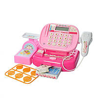 Детский розовый кассовый аппарат (весы, сканер, продукты)