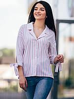 🌺 Свободная Блуза Рубашка женская в полоску, фото 1