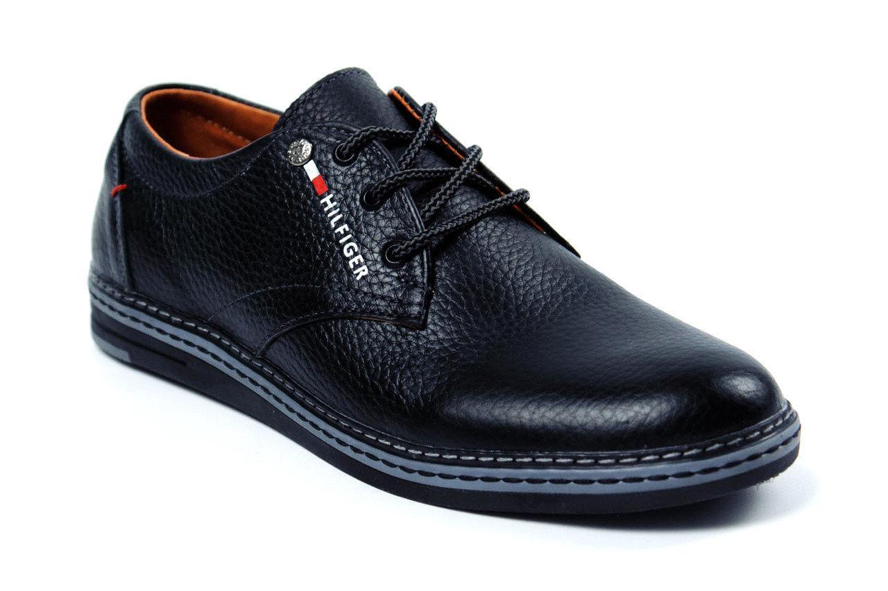 Мужские туфли с натуральной кожи Tommy HF (репліка) р. 40 41 42 43 44 45