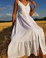 Женское летнее платье сарафан из хлопка и шитья, длина миди, цвет белый