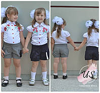 Классические школьные шорты для девочки. 3 расцветки, фото 1