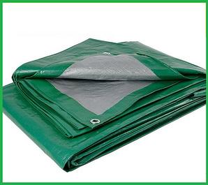 Тенты серо-зеленые с кольцами плотность 90 г/м² (тарпаулин)