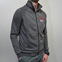Темно-серая мужская спортивная кофта Reebok (Рибок) / Турция, Трикотаж двунитка / Размеры: 46-52