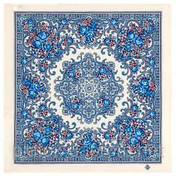 Весёлые деньки 1879-1, павлопосадский платок шерстяной  с осыпкой (оверлоком)