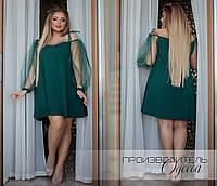 Платье вечернее короткое креп дайвинг+сетка с блестками 48,50,52,54