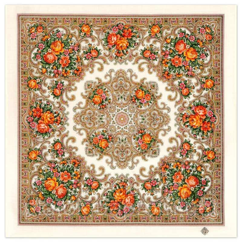 Весёлые деньки 1879-2, павлопосадский платок шерстяной с оверлоком