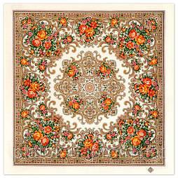 Веселые деньки 1879-2, павлопосадский платок шерстяной с оверлоком