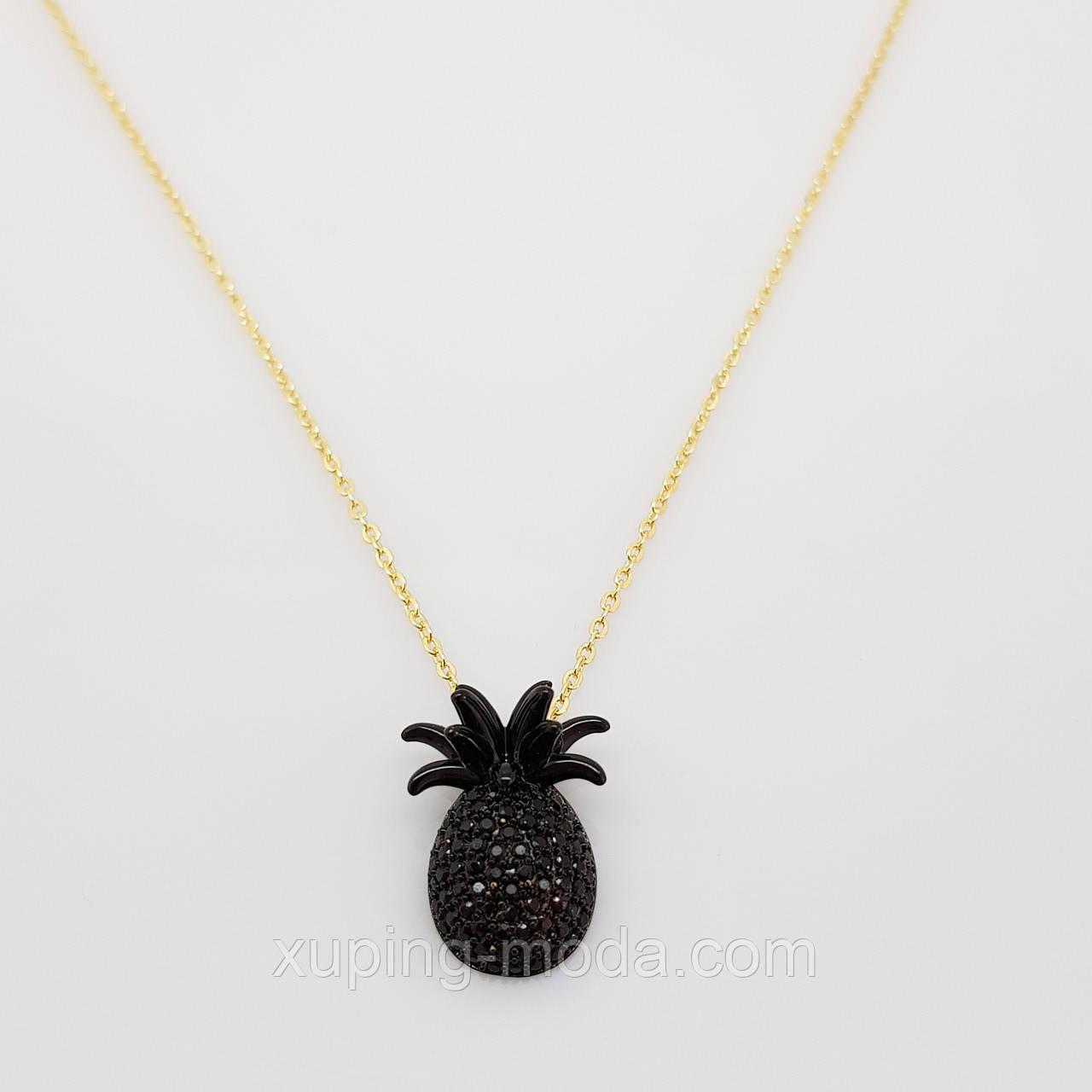 Цепочка с кулончиком ананас, черного цвета