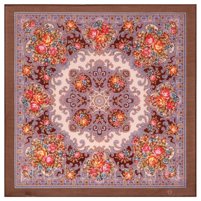 Весёлые деньки 1879-16, павлопосадский платок шерстяной  с осыпкой (оверлоком)