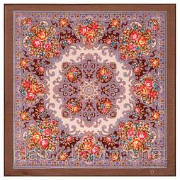 Веселые деньки 1879-16, павлопосадский платок шерстяной  с осыпкой (оверлоком)