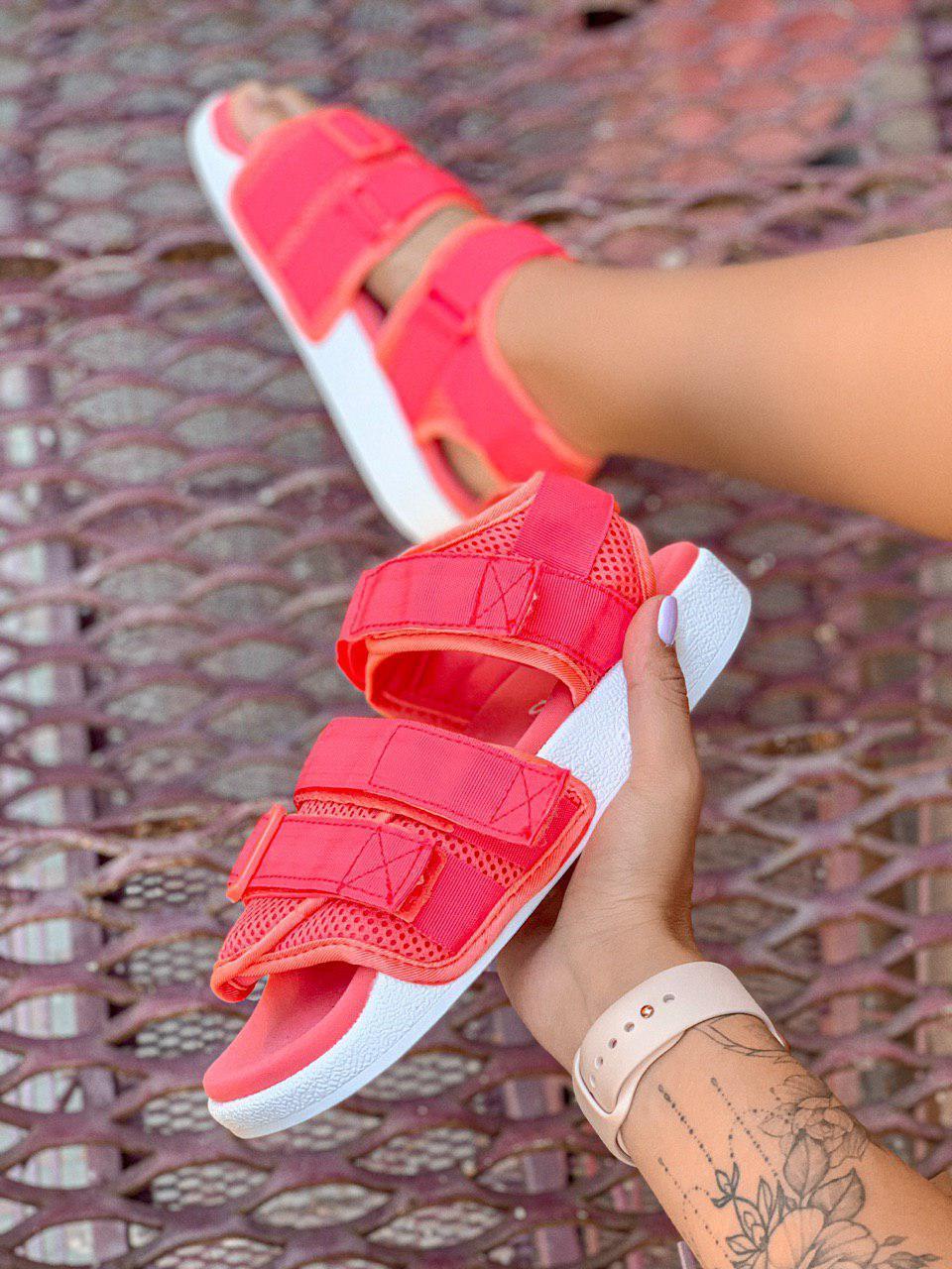Женские Сандалии Adidas Adilette коралловые (реплика)