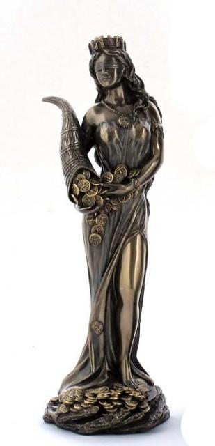 Настольная статуэтка Богиня Фортуна из полистоуна с бронзовым напылением Veronese 18см